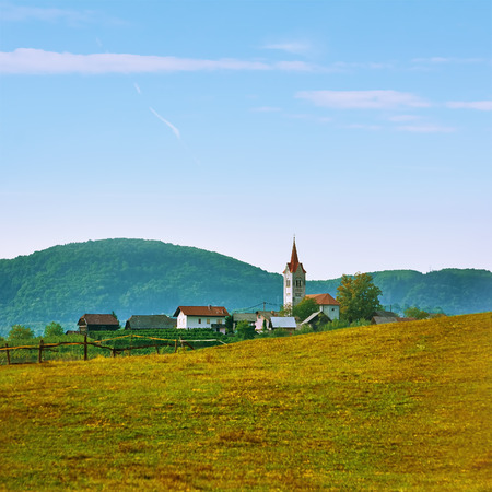 Small Village with Church Building in Slovenia