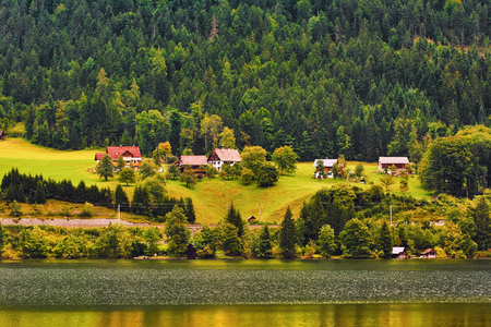House on the Bank of Lake in Austria Stock Photo