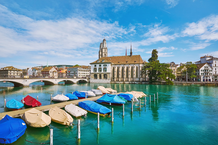 Moored Boats on Limmat River, Zurich, Switzerland Stock Photo