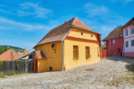 Street in Old Town of Sighisoara, Romania Stock Photo
