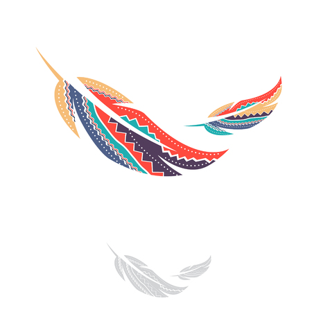 Illustration of Multicolored Ornamental Decorated Feathers