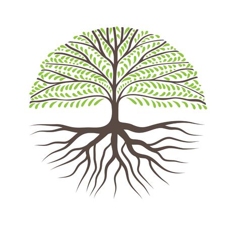 Árbol redondo con raíces, se puede utilizar como logotipo para su empresa Logos