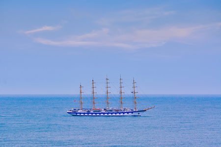 Big Sailing Ship in the Black Sea Stock Photo