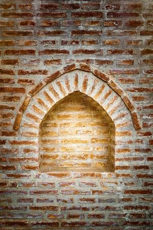 Immured Window in The Brick Wall Stock Photo