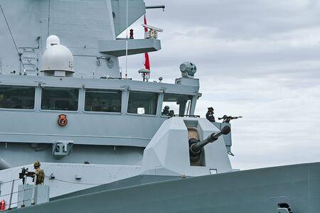 VARNA, BULGARIA - April 29, 2017: 4.5 inch Mark 8 Naval Gun System on the Board of HMS Daring, During the Visit of Varna Port