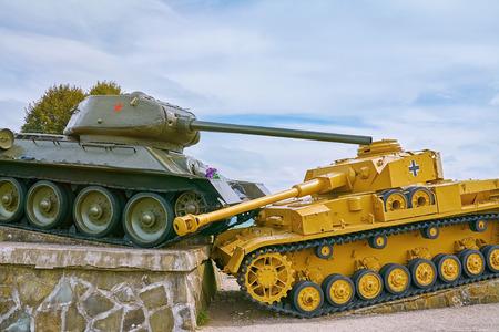 Soviet Tank beats German one on the Battlefield of World War II