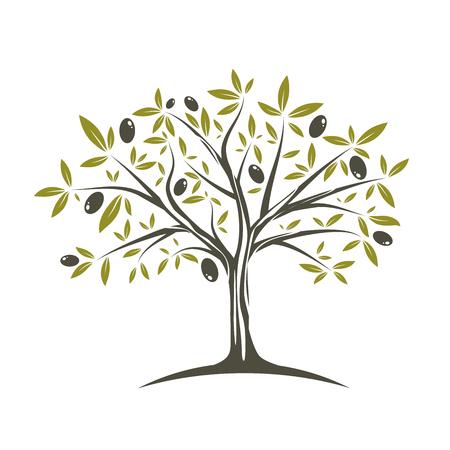 Abbildung des einzelnen Olivenbaums in flachen Farben