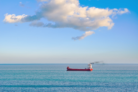 Red container ship in the Black Sea