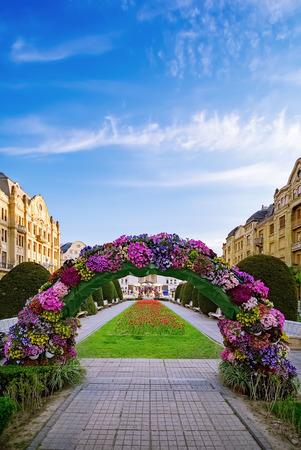Flower arch on the Victory Square (Piata Libertatii) in Timisoara, Romania