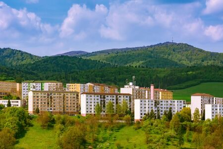 Residential area of Bardejov in front of the mountains, Slovakia Stock fotó