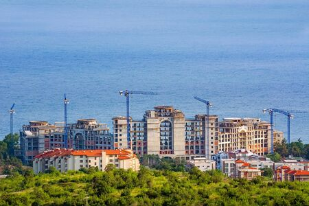 Construction of a new building on the Black Sea coast Stock Photo