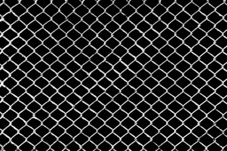 White Metal Grid on the Black Background