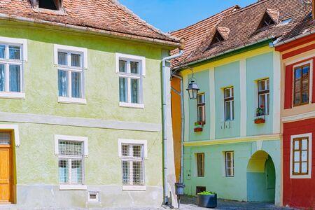 Street in Medieval Town of Sighisoara, Romania