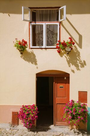 Entrance to the medieval house in Sighisoara, Romania