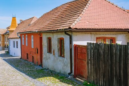 Street in Old Town of Sighisoara, Romania Stock fotó