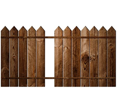 Wooden Fence without One Plank over White Background