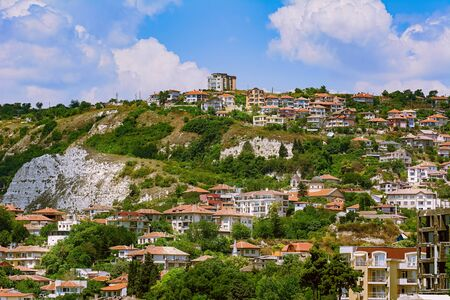 Houses of Small Town (Balchik) on the Slope of a Hill in Bulgaria Фото со стока