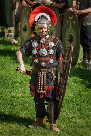 Alba Iulia, Romania - May 04, 2019: Roman Legionnairy during the Festival Roman Apulum