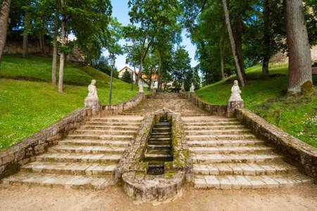 Stairway in the Castle park, Cesis, Latvia Banco de Imagens