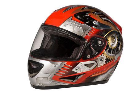 casco de moto: casco rojo  Foto de archivo