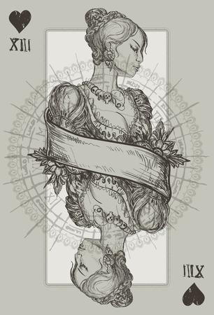 necromancy: Queen Heart Suit vector illustration Illustration