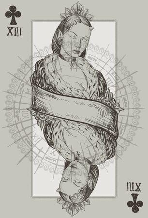 necromancy: Queen Club Suit vecor illustration