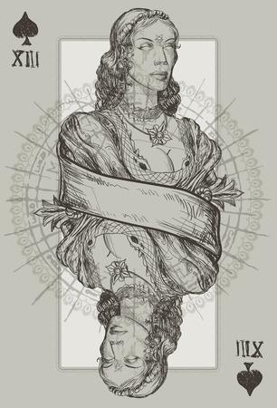 necromancy: Queen Spade Suit vector illustration Illustration