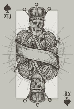necromancy: Skeleton King Playing Cart Suit Illustration