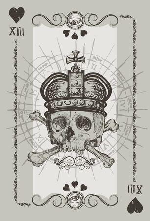 Skul l Playin Cart Suit illustration Illustration