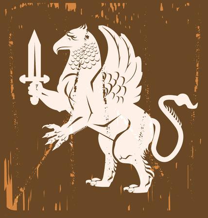 gryphon: Griffin Heraldic Medieval Vector Illustration Illustration