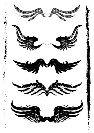 engel tattoo: Fl�gel Set und Grunge-Element Illustration