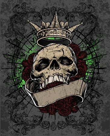 Royal Skull Tattoo  Illustration