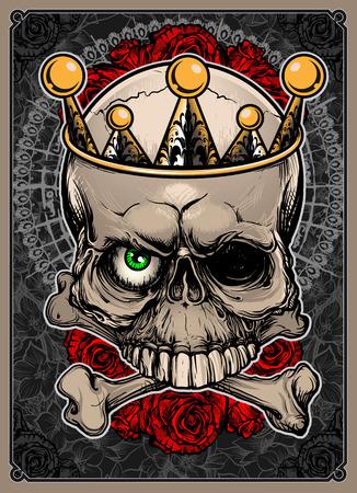 Skull and Bones Royal Vector Illustration