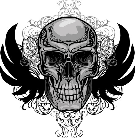 deaths: Skull and Wings Vector Illustration