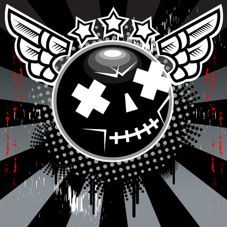 star mascot: Dead Smile Wings Vector Illustration