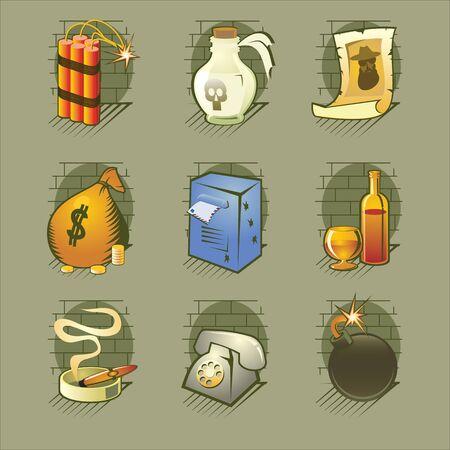ashtray: Crime Icons Set Vector Illustration Illustration