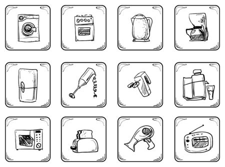household equipment: Household equipment Doodle icons set.