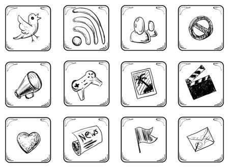 censorship: Social Doodle Icons Set Illustration