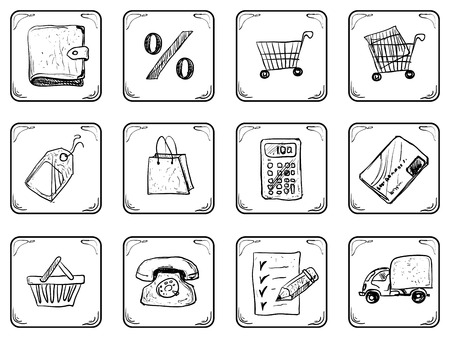 disbelief: Shopping Doodle Set Illustration icons.
