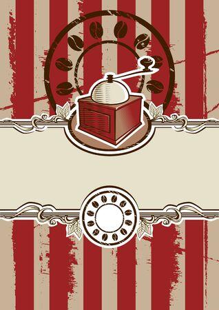 macinino caffè: Poster Illustrazione Vintage Coffee Grinder vettore