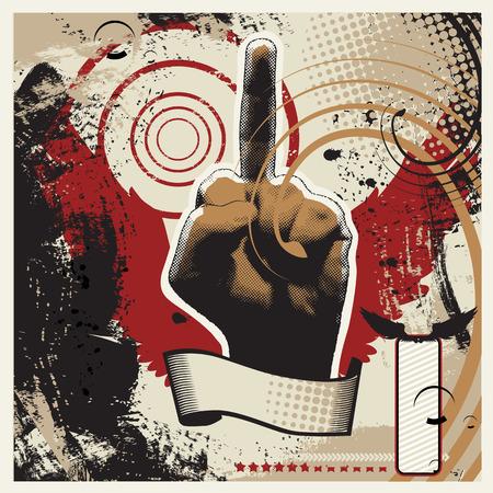 obscene: Grunge vector illustration of obscene gesture
