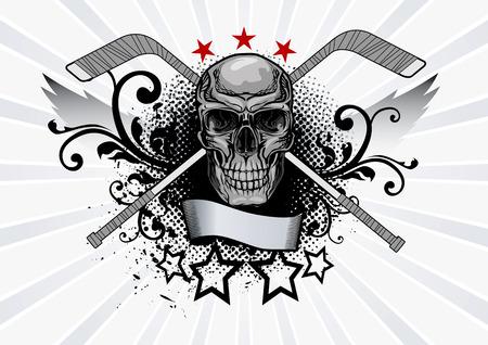 Vector illustration of a skull with hockey sticks Illustration