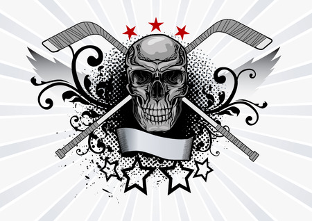 halftone: Vector illustration of a skull with hockey sticks Illustration