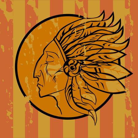 redskin: Emblema Indian on grunge style