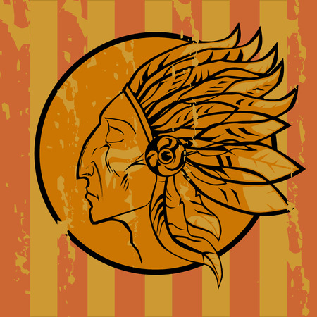 Emblema Indian on grunge style