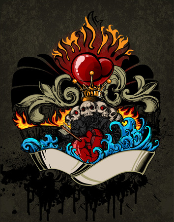 heart with crown: Gloomy emblem of love in tattoo style Stock Photo