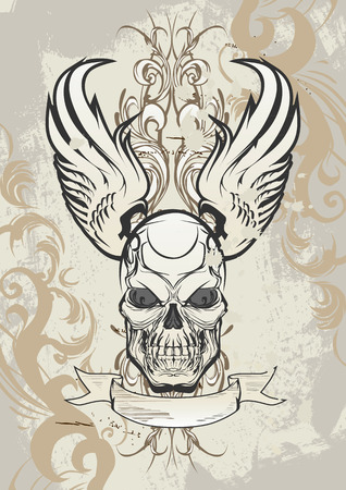 brutal: Winged skull on grunge background Illustration