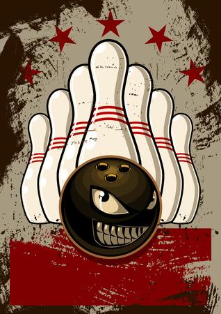 Bowling Mascot Poster Vector Illustration 向量圖像