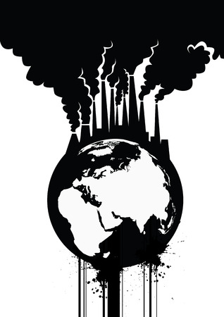 earth pollution: Pollution Earth Grunge Vector Illustration