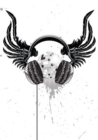 winged headphones and a mirror ball Illustration